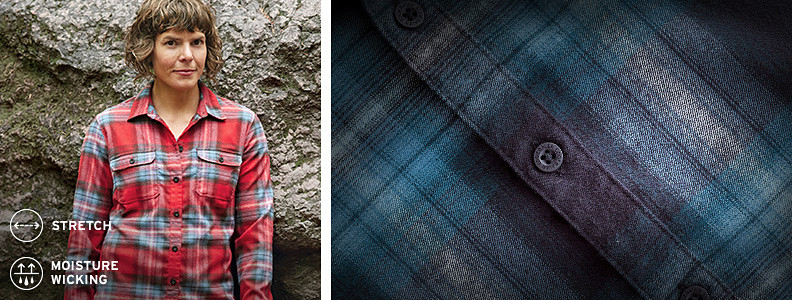 Eddie Bauer rock climbing athlete Katie Lambert wearing an Expedition Flannel Shirt