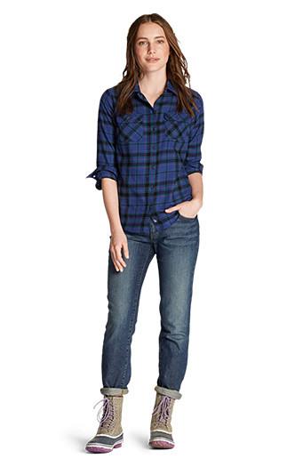 A women wearing Stine's Favorite Flannel with Boyfriend Jeans