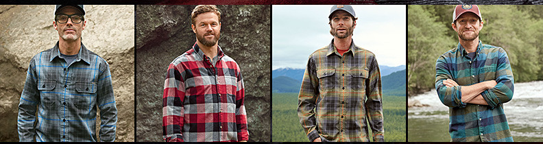 Four of our guides and athletes wearing different colors and styles of our flannel shirt
