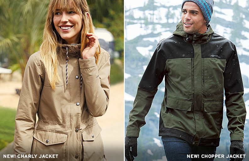 A woman wearing a Charly Jacket and a man wearing the Chopper Jacket