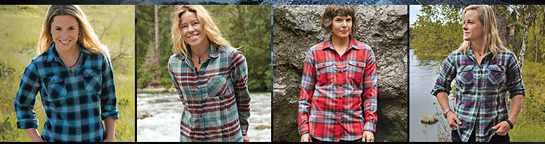 Four of our female guides wearing different colors and styles of our flannel shirt