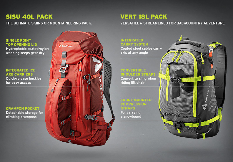 Details and features of the Sisu and Vert Packs