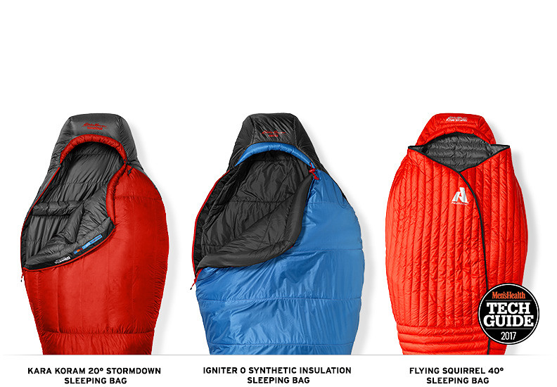 Three different sleeping bags