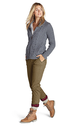 A woman wearing flannel lined chinos