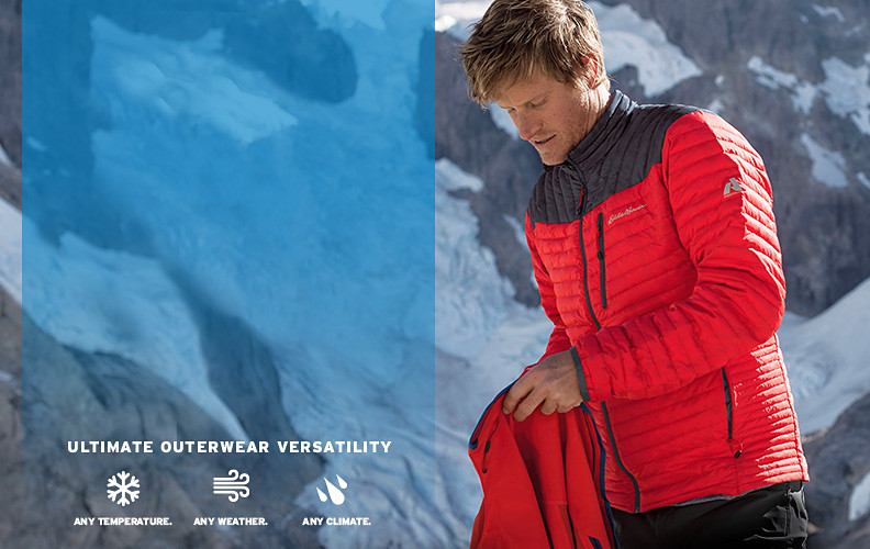 Eddie Bauer climbing athlete Cory Richards wearing a MicroTherm Jacket in a snowy landscape