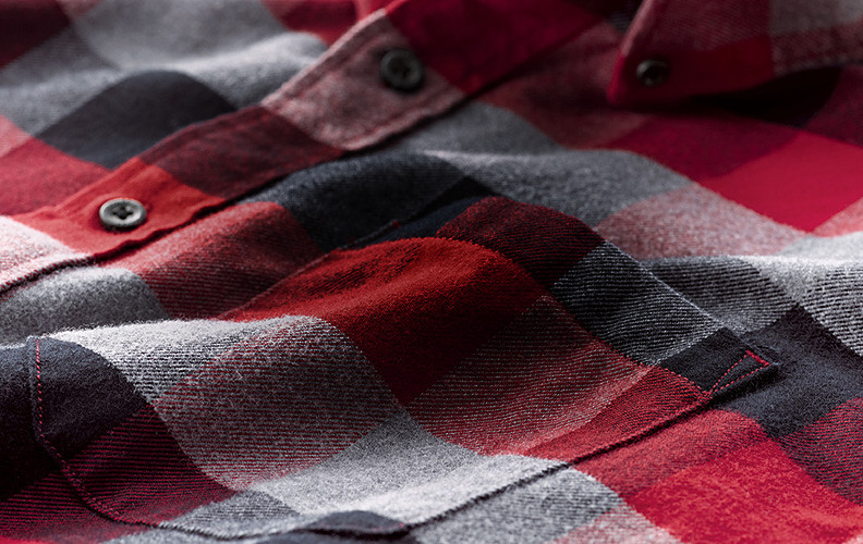 Close up image of a flannel shirt