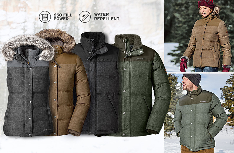 Different colors and styles of Noble Down Outerwear