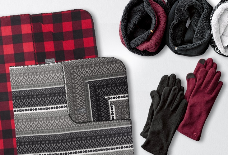 Quest Fleece Throws and cold-weather accessories