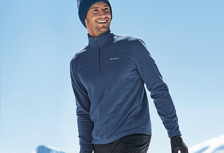 A man wearing a Quest Fleece Pullover