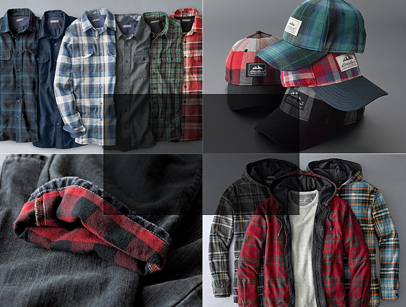 Different colors and styles of flannel and flannel-lined items
