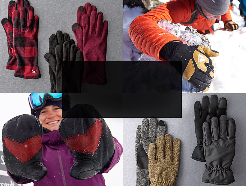 Different colors and styles of gloves
