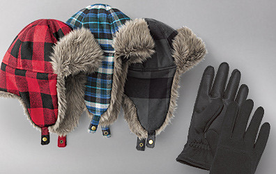 Down aviator hats and gloves