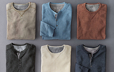 Different colors and styles of Eddie's Favorite Thermal Shirts