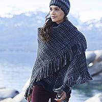 A women wearing a blanket scarf