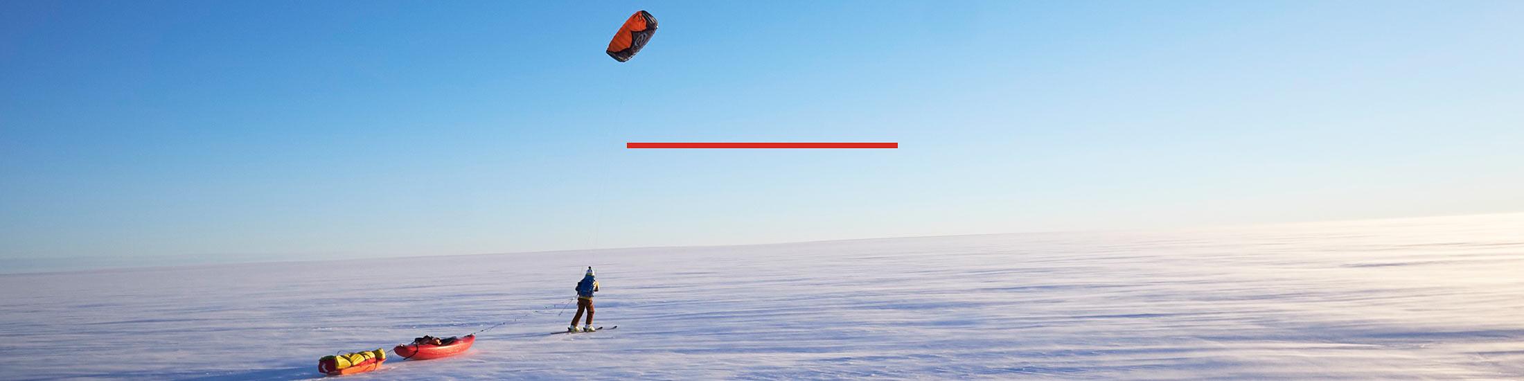 Sarah McNair Landry and Eddie Bauer kayak athlete Ben Stookesberry crossing Greenland's ice cap