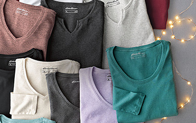 Different colors and styles of T-shirts