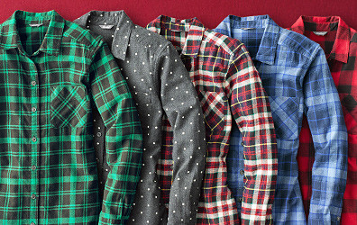 Flannel shirts in different colors