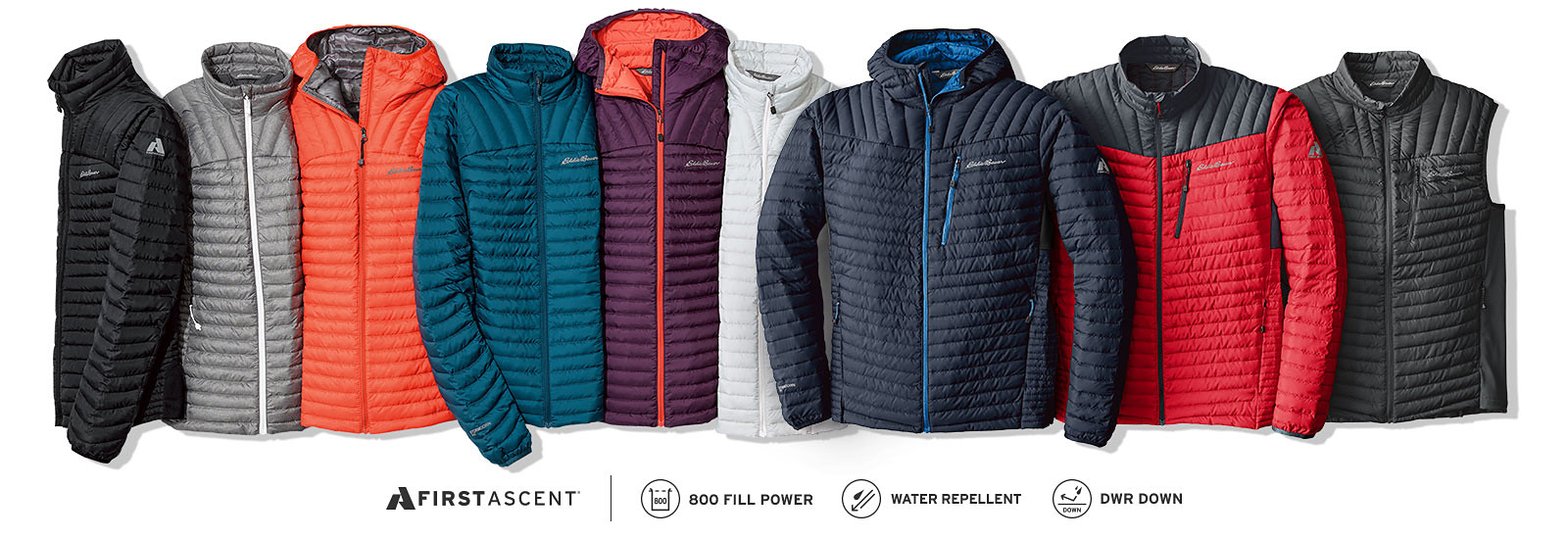 Different colors and styles of MicroTherm StormDown Outerwear