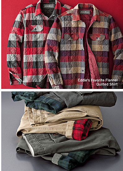 Different colors of quilted flannel shirts and flannel-lined pants