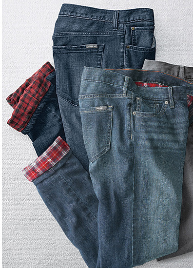 Different colors and styles of flannel-lined pants