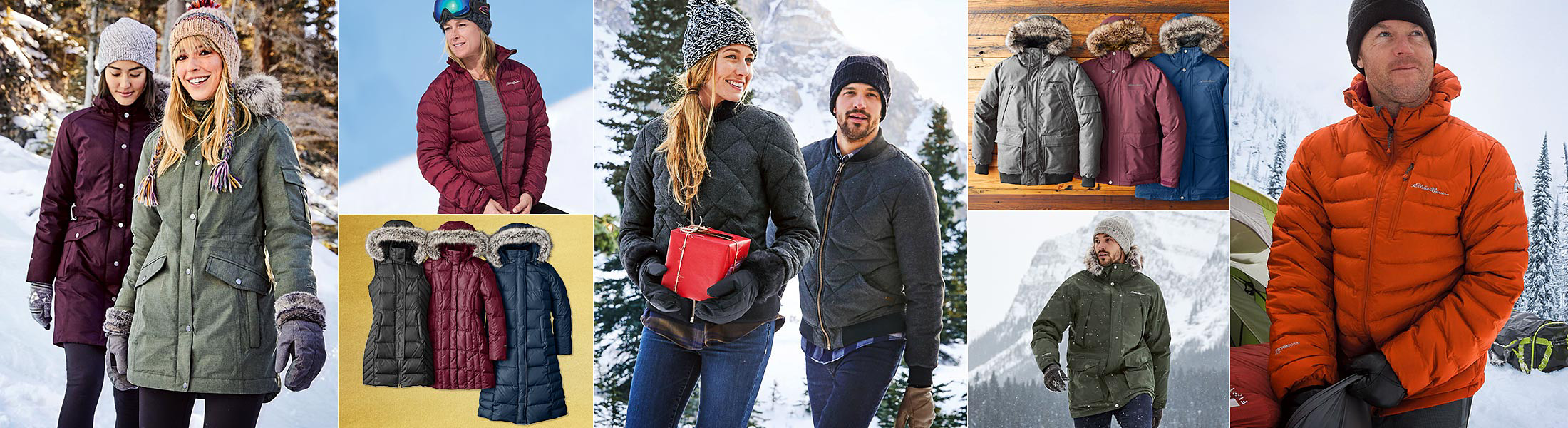 A collage of images featuring different styles and colors of down outerwear
