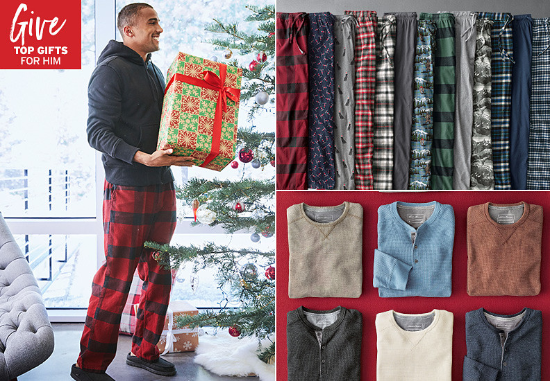 A collage of images showing different sweaters and pajamas