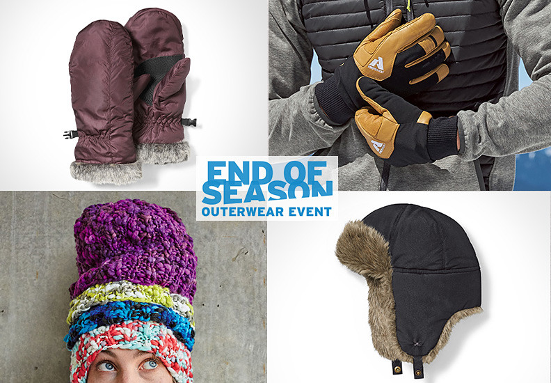 Collage of images of gloves, hats and cold-weather accessories