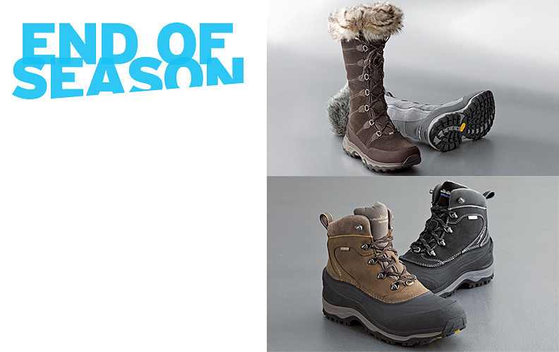 Different colors and styles of men's and women's winter boots