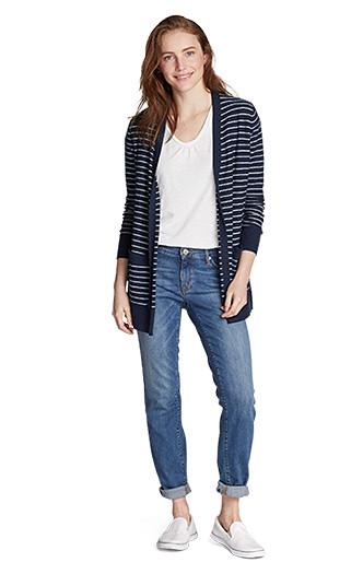 A woman wearing Elysian Boyfriend Slim Jeans