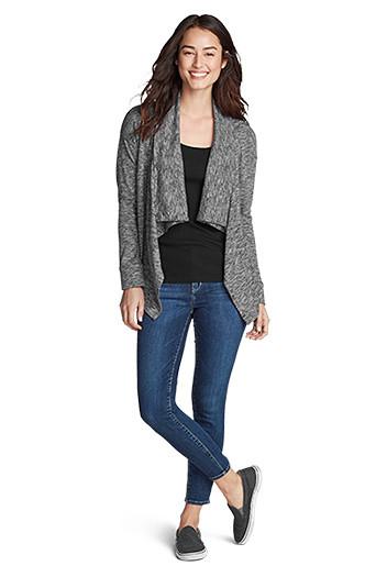 A woman wearing a 7 Days 7 Ways Cardigan