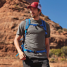 A man hiking with a backpack