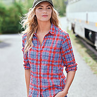 A woman in a plaid packable shirt