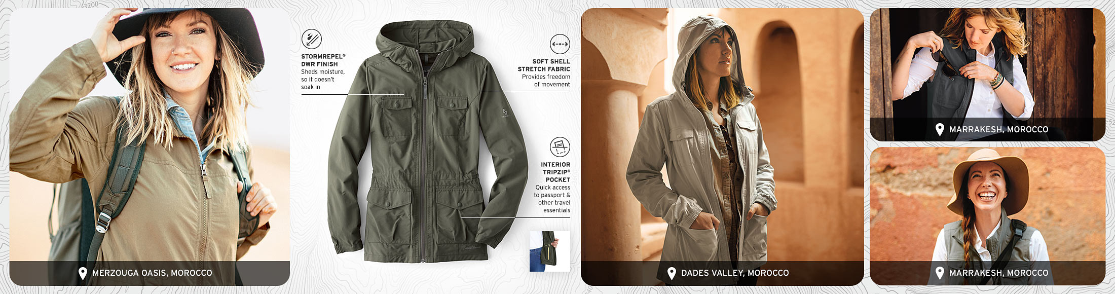 Different colors and features of the Atlas 2.0 Jacket