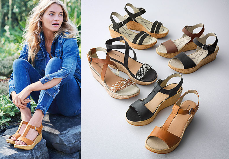 Kara wedge sandals in different colors and styles
