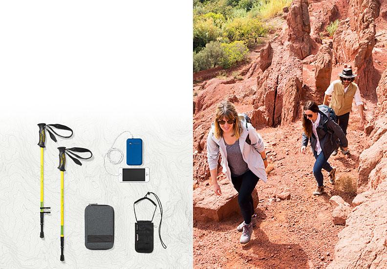 Three travelers hiking in Morocco