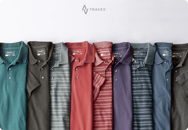 Different colors and patterns of Voyager polos