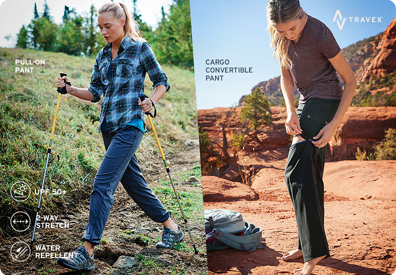 Different styles and colors of Horizon Pants and Skorts