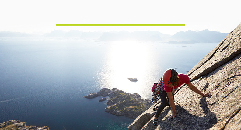 A woman climbing in Norway