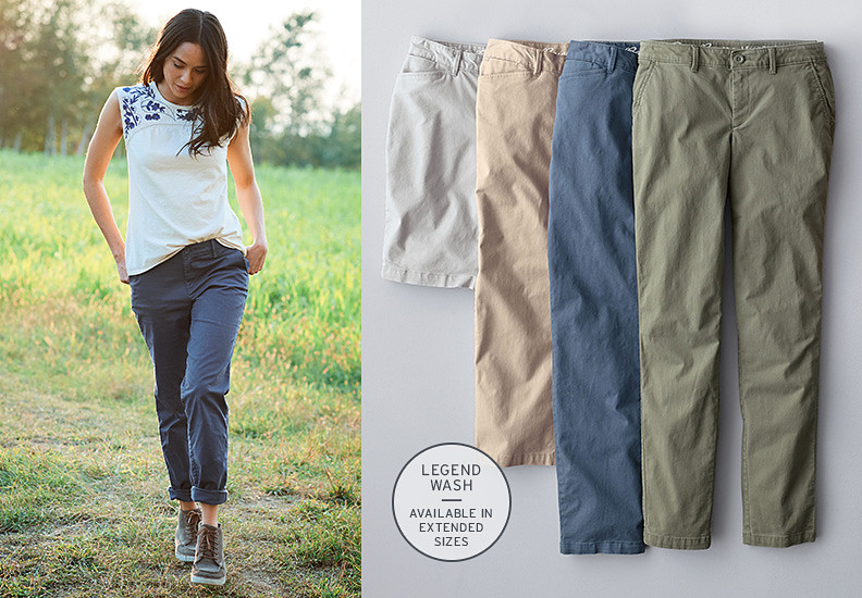Different colors and styles of Legend Wash Pants and Shorts