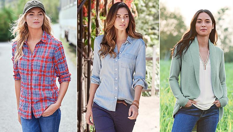 Three women wearing three different styles of shirts