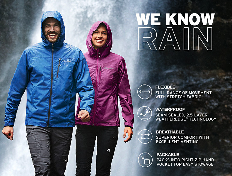 Two people in rain jackets stand at the base of a waterfall