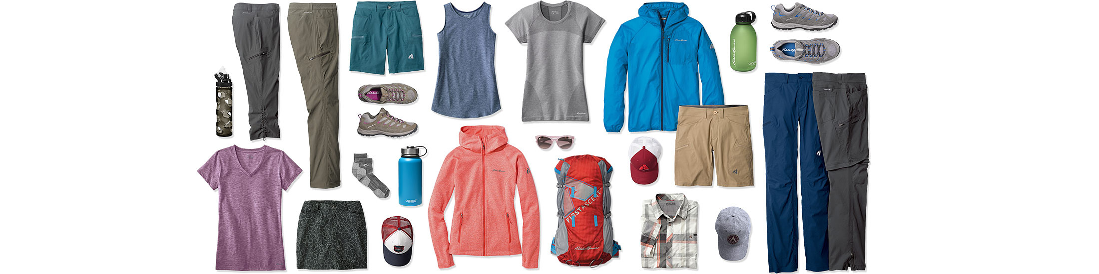 Different hiking pants, shorts, shirts, jackets, shoes, packs, and assorted gear