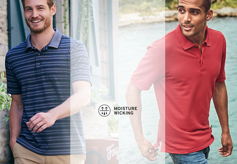 Different colors and styles of polos