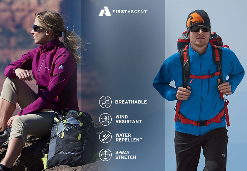 Eddie Bauer alpine climbing guide Melissa Arnot Reid and climbing athlete Cory Richards wearing Sandstone Soft Shell Jackets