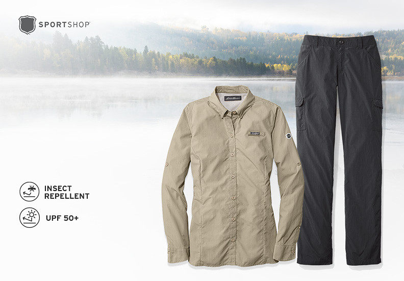 Detail images of FreePellent Shirt and Pants over an image of a lake and wooded hills