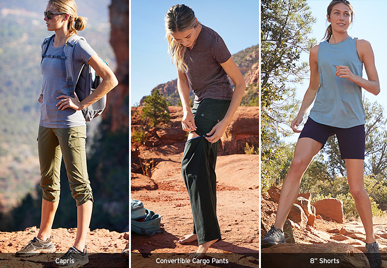 Different colors and styles of Horizon Pants, Capris and Shorts