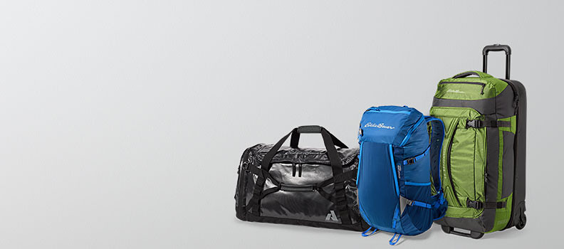 Different colors and styles of packs and duffels
