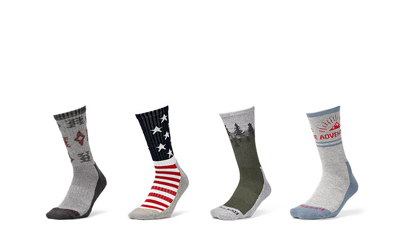Different colors and patterns of socks
