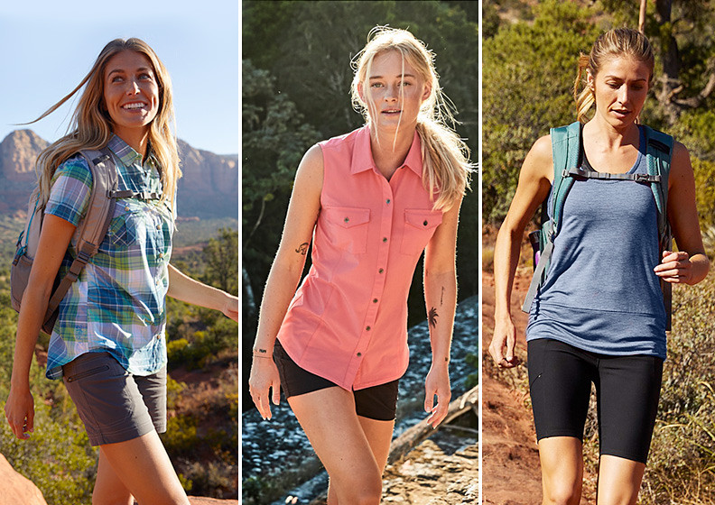Three woman wearing different styles of hiking tops and shorts