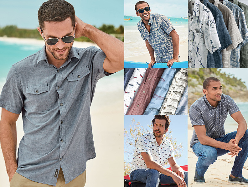 Different colors and styles of summer shirts